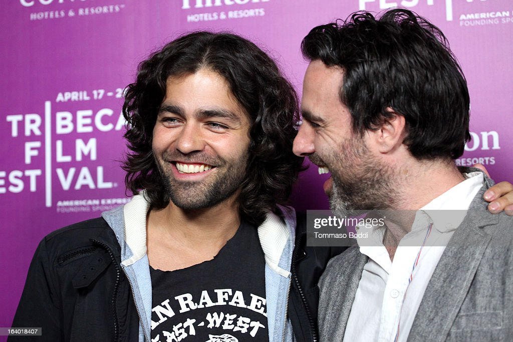 Actor <a gi-track='captionPersonalityLinkClicked' href=/galleries/search?phrase=Adrian+Grenier&family=editorial&specificpeople=211413 ng-click='$event.stopPropagation()'>Adrian Grenier</a> (L) and director Matthew Cooke attend the 5th annual Tribeca Film Festival 2013 LA reception held at The Beverly Hilton Hotel on March 18, 2013 in Beverly Hills, California.