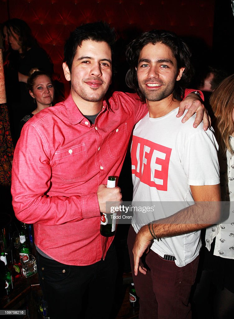Actor <a gi-track='captionPersonalityLinkClicked' href=/galleries/search?phrase=Adrian+Grenier&family=editorial&specificpeople=211413 ng-click='$event.stopPropagation()'>Adrian Grenier</a> (R) attends Night 2 of Hyde Lounge on January 19, 2013 in Park City, Utah.
