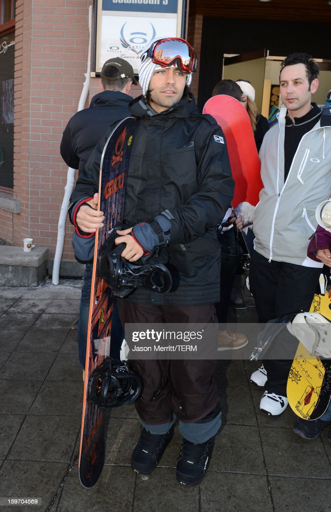 Actor Adrian Grenier snowboards at the Oakley Learn To Ride in collaboration with New Era on January 18, 2013 in Park City, Utah.
