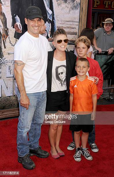 Actor Adrian Pasdar musician Natalie Maines children Jackson Pasdar and Beckett Pasdar arrive at 'The Lone Ranger' World Premiere at Disney's...