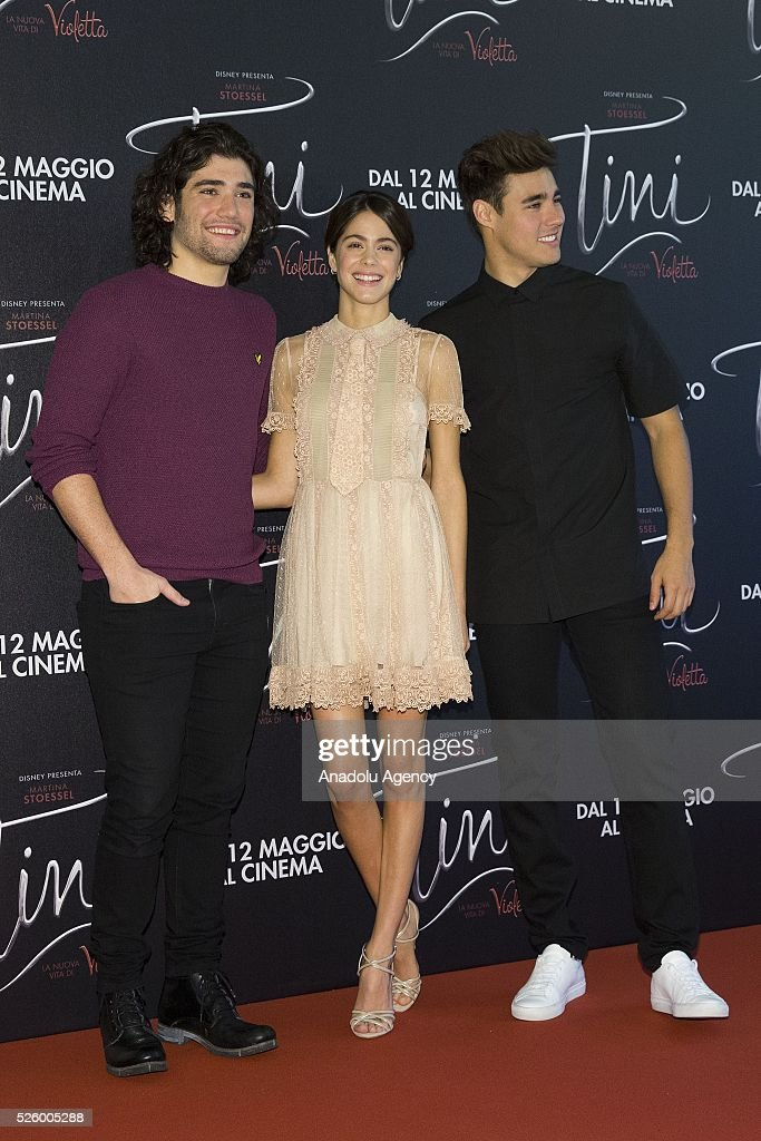 Actor Adrian Salzedo (L), actress Martina Stoessel (C) and actor Jorge Blanco (R) pose during a photocall of 'Tini - La nuova vita di Violetta' at Grand Hotel Parco dei Principi in Rome, Italy on April 29, 2016.