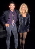 Actor Adrian Zmed and wife Susan Wood attend The Neil Bogard Memorial Fund Gala Honoring Clarence Avant on November 13 1993 at The Barker Hangar at...