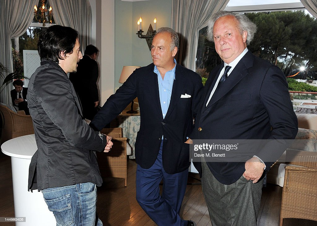 Actor Adrien Broady, Charles Finch and Graydon Carter attend the IWC and Finch's Quarterly Review Annual Filmmakers Dinner at Hotel Du Cap-Eden Roc on May 21, 2012 in Antibes, France.