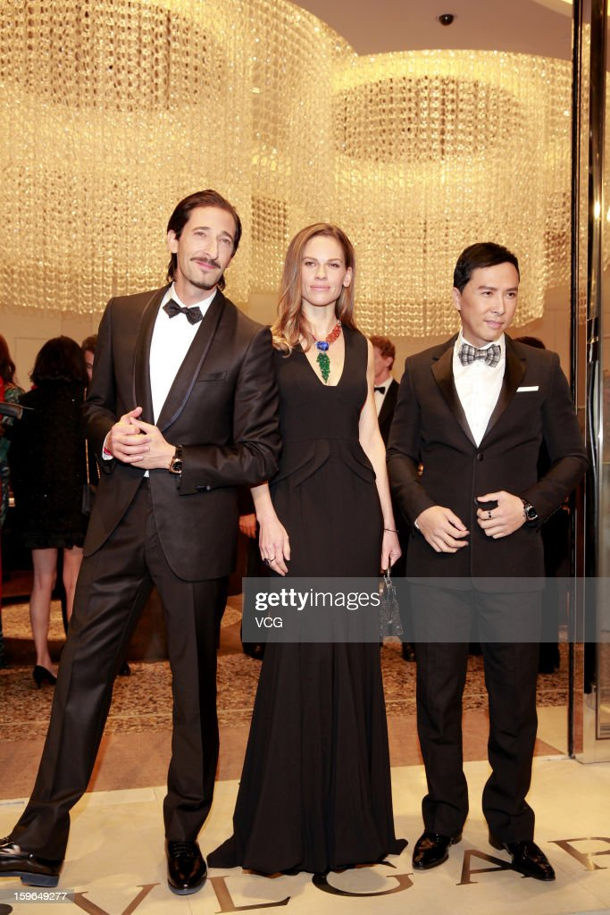 Actor <a gi-track='captionPersonalityLinkClicked' href=/galleries/search?phrase=Adrien+Brody&family=editorial&specificpeople=202175 ng-click='$event.stopPropagation()'>Adrien Brody</a>, actress <a gi-track='captionPersonalityLinkClicked' href=/galleries/search?phrase=Hilary+Swank&family=editorial&specificpeople=201692 ng-click='$event.stopPropagation()'>Hilary Swank</a> and actor <a gi-track='captionPersonalityLinkClicked' href=/galleries/search?phrase=Donnie+Yen&family=editorial&specificpeople=235559 ng-click='$event.stopPropagation()'>Donnie Yen</a> attend Bulgari store opening reception on January 17, 2013 in Hong Kong, Hong Kong.