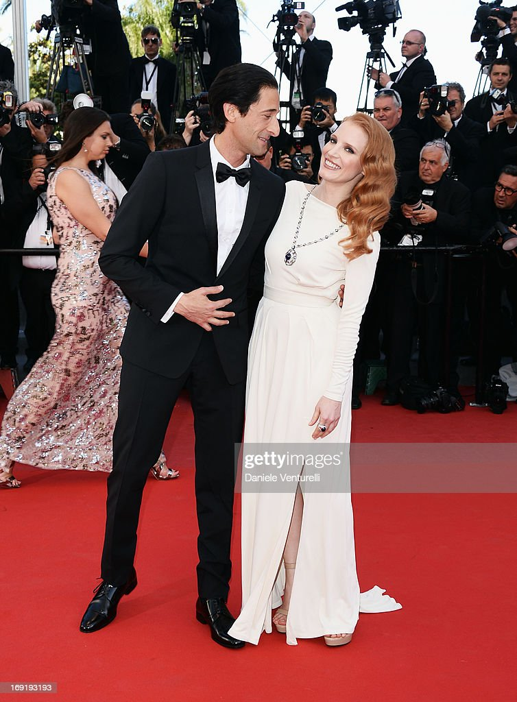 Actor Adrien Brody and actress Jessica Chastain attend the Premiere of 'Cleopatra' during the 66th Annual Cannes Film Festival at the Palais des Festivals on May 21, 2013 in Cannes, France.