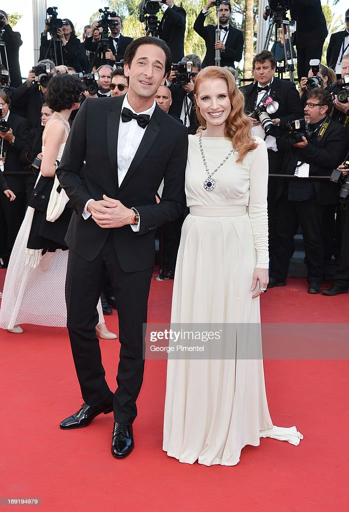 Actor <a gi-track='captionPersonalityLinkClicked' href=/galleries/search?phrase=Adrien+Brody&family=editorial&specificpeople=202175 ng-click='$event.stopPropagation()'>Adrien Brody</a> and actress <a gi-track='captionPersonalityLinkClicked' href=/galleries/search?phrase=Jessica+Chastain&family=editorial&specificpeople=653192 ng-click='$event.stopPropagation()'>Jessica Chastain</a> attends the Premiere of 'Cleopatra' at The 66th Annual Cannes Film Festival on May 21, 2013 in Cannes, France.