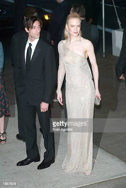 Actor Adrien Brody and actress Nicole Kidman arrive at the Metropolitan Museum of Art Costume Institute Benefit Gala sponsored by Gucci April 28 2003...