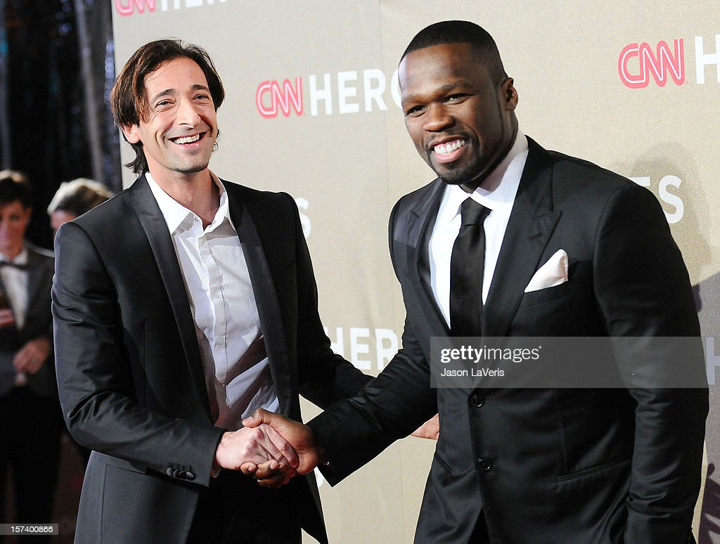 Actor <a gi-track='captionPersonalityLinkClicked' href=/galleries/search?phrase=Adrien+Brody&family=editorial&specificpeople=202175 ng-click='$event.stopPropagation()'>Adrien Brody</a> and Curtis '<a gi-track='captionPersonalityLinkClicked' href=/galleries/search?phrase=50+Cent+-+Rapero&family=editorial&specificpeople=215363 ng-click='$event.stopPropagation()'>50 Cent</a>' Jackson attend CNN Heroes: An All-Star Tribute at The Shrine Auditorium on December 2, 2012 in Los Angeles, California.