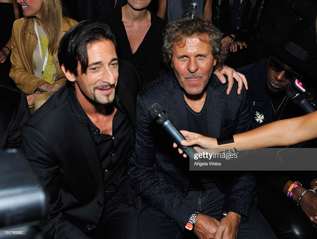 Actor <a gi-track='captionPersonalityLinkClicked' href=/galleries/search?phrase=Adrien+Brody&family=editorial&specificpeople=202175 ng-click='$event.stopPropagation()'>Adrien Brody</a> and designer <a gi-track='captionPersonalityLinkClicked' href=/galleries/search?phrase=Renzo+Rosso&family=editorial&specificpeople=614354 ng-click='$event.stopPropagation()'>Renzo Rosso</a> attend the Diesel Black Gold Runway Show during the Spring 2013 Mercedes-Benz Fashion Week on September 11, 2012 in New York City.