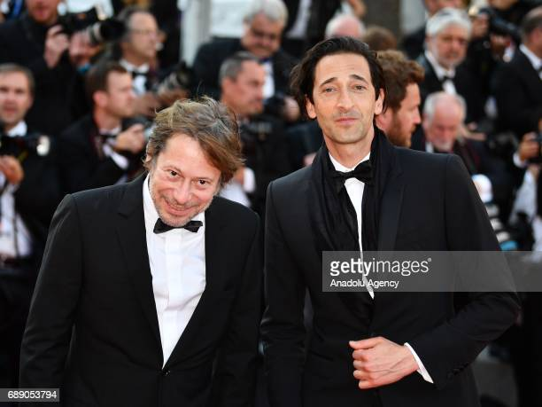 US actor Adrien Brody and French director Mathieu Amalric arrive for the screening of the film D'apres Une Histoire Vraie out of competition at the...