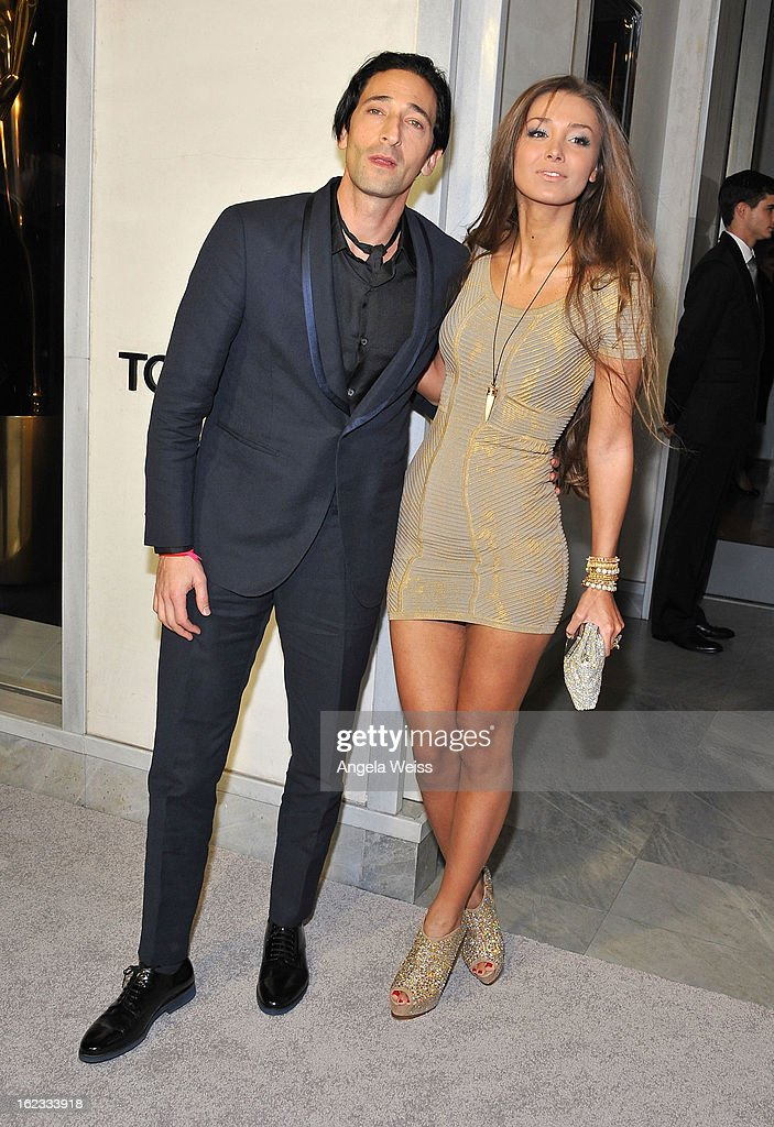 Actor <a gi-track='captionPersonalityLinkClicked' href=/galleries/search?phrase=Adrien+Brody&family=editorial&specificpeople=202175 ng-click='$event.stopPropagation()'>Adrien Brody</a> and girlfriend Lara Leito attend Tom Ford's cocktail event in support of Project Angel Food at TOM FORD on February 21, 2013 in Beverly Hills, California.