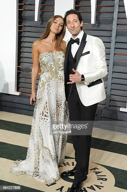 Actor Adrien Brody and Lara Leito attend the 2015 Vanity Fair Oscar Party hosted by Graydon Carter at Wallis Annenberg Center for the Performing Arts...