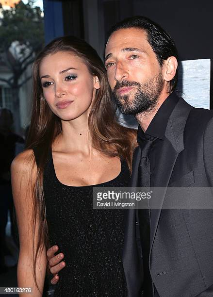 Actor Adrien Brody and Lara Leito attend the premiere of Sony Pictures Classics' 'Irrational Man' at the WGA Theatre on July 9 2015 in Los Angeles...