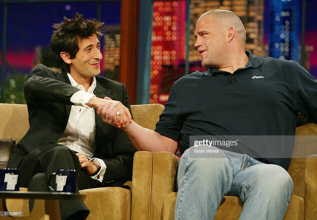 Actor Adrien Brody and Olympic wrestler Rulon Gardner appear on 'The Tonight Show with Jay Leno' at the NBC Studios on July 28 2004 in Burbank...