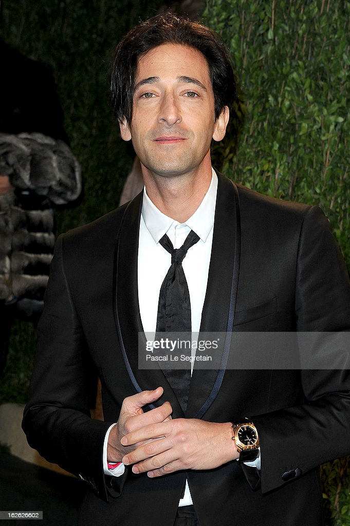 Actor <a gi-track='captionPersonalityLinkClicked' href=/galleries/search?phrase=Adrien+Brody&family=editorial&specificpeople=202175 ng-click='$event.stopPropagation()'>Adrien Brody</a> arrives at the 2013 Vanity Fair Oscar Party hosted by Graydon Carter at Sunset Tower on February 24, 2013 in West Hollywood, California.