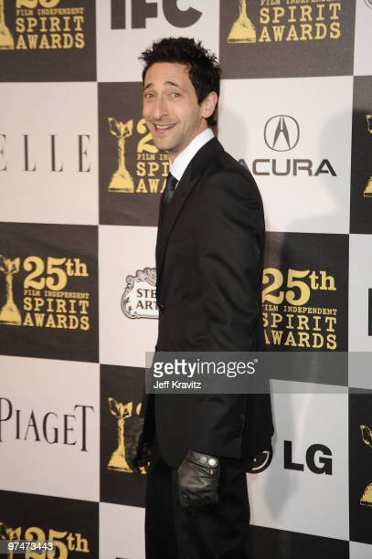 Actor Adrien Brody arrives at the 25th Film Independent Spirit Awards held at Nokia Theatre LA Live on March 5 2010 in Los Angeles California