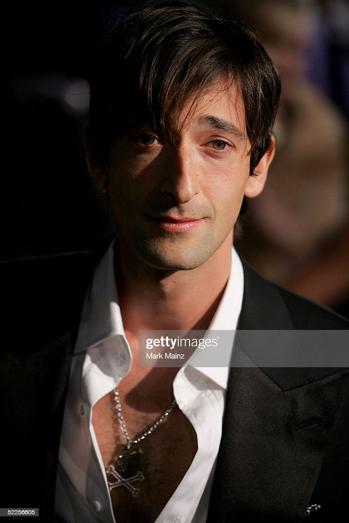 Actor Adrien Brody arrives at the Vanity Fair Oscar Party at Mortons on February 27, 2005 in West Hollywood, California.