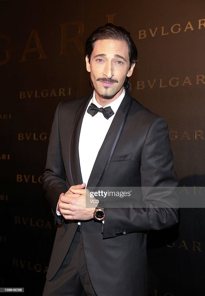 Actor <a gi-track='captionPersonalityLinkClicked' href=/galleries/search?phrase=Adrien+Brody&family=editorial&specificpeople=202175 ng-click='$event.stopPropagation()'>Adrien Brody</a> attends Bulgari store opening reception on January 17, 2013 in Hong Kong, Hong Kong.