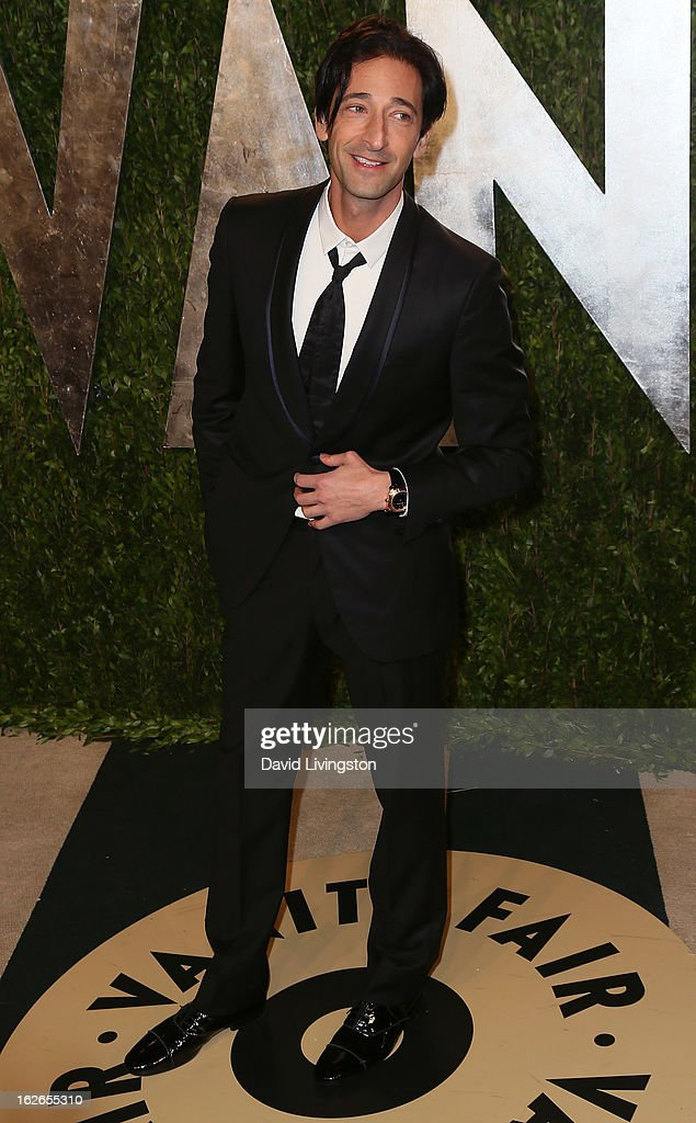 Actor Adrien Brody attends the 2013 Vanity Fair Oscar Party at the Sunset Tower Hotel on February 24, 2013 in West Hollywood, California.