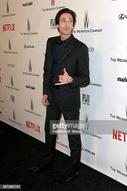 Actor Adrien Brody attends the 2015 Weinstein Company and Netflix Golden Globes After Party at Robinsons May Lot on January 11 2015 in Beverly Hills...