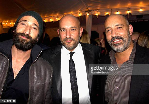 Actor Adrien Brody gallery owner Steph Sebbag and guest attend the Brian Bowen Smith WILDLIFE show hosted by Casamigos Tequila at De Re Gallery on...