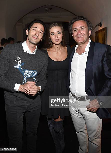 Actor Adrien Brody model Lara Leito and Formula E CEO Alejandro Agag attend the Variety and Formula E Hollywood Gala at Chateau Marmont on April 4...