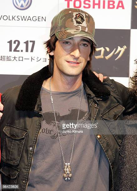 Actor Adrien Brody poses during a photocall for Peter Jackson's film 'King Kong' on December 13 2005 in Tokyo Japan