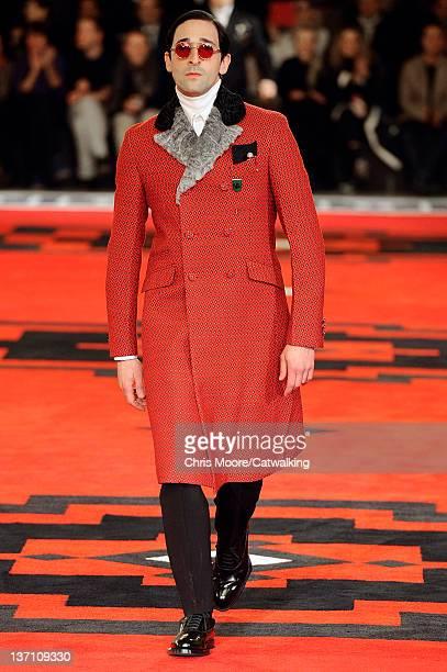 Actor Adrien Brody walks the runway at the Prada Autumn Winter 2012 fashion show during Milan Menswear Fashion Week on January 15 2012 in Milan Italy