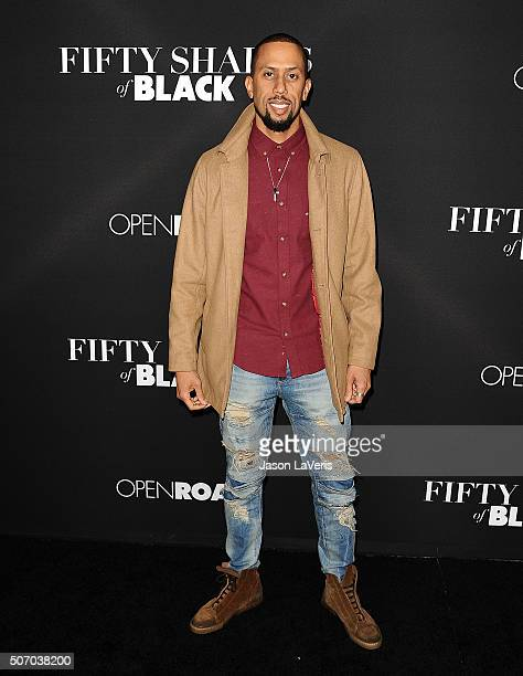 Actor Affion Crockett attends the premiere of 'Fifty Shades of Black' at Regal Cinemas LA Live on January 26 2016 in Los Angeles California