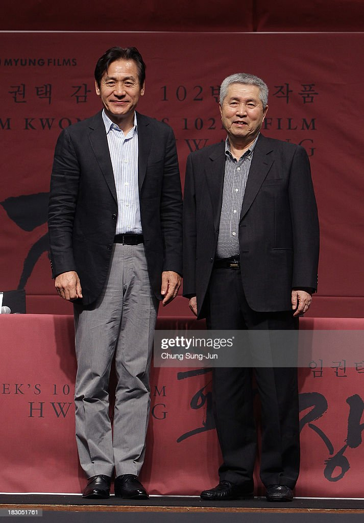 Actor Ahn Sung-Ki and director <a gi-track='captionPersonalityLinkClicked' href=/galleries/search?phrase=Im+Kwon-Taek&family=editorial&specificpeople=2561090 ng-click='$event.stopPropagation()'>Im Kwon-Taek</a> attend during the <a gi-track='captionPersonalityLinkClicked' href=/galleries/search?phrase=Im+Kwon-Taek&family=editorial&specificpeople=2561090 ng-click='$event.stopPropagation()'>Im Kwon-Taek</a>'s 102nd Film 'Hwajang' Press Conference during the 18th Busan International Film Festival on October 4, 2013 in Busan, South Korea.