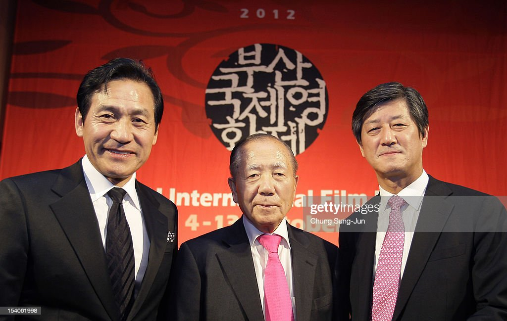 Actor Ahn Sung-Ki, Honorary BIFF director, <a gi-track='captionPersonalityLinkClicked' href=/galleries/search?phrase=Kim+Dong-Ho&family=editorial&specificpeople=961641 ng-click='$event.stopPropagation()'>Kim Dong-Ho</a> and festival director Lee Yong-Kwan attend a closing party during the 17th Busan International Film Festival (BIFF) at Grand Hotel on October 13, 2012 in Busan, South Korea. The biggest film festival in Asia showcases 304 films from 75 countries and runs from October 4-13.