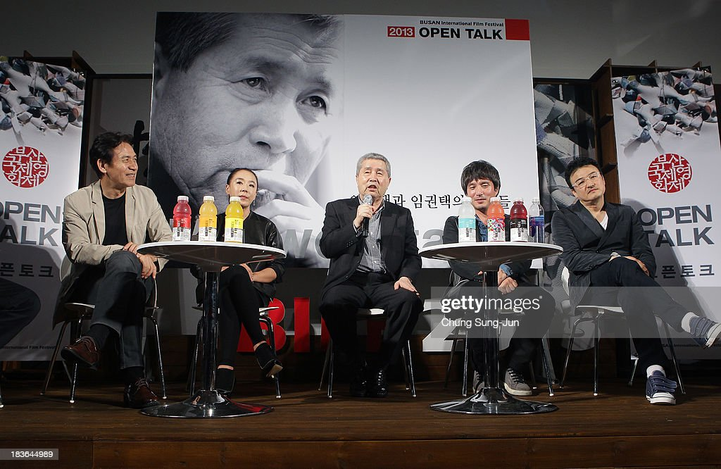 Actor Ahn Sung-Ki, Kang Soo-Hyun director Im Kwon-Taek, actor Cho Jae-Hyun and Park Joong-Hoon attend the 'Open Talk -Im Kwon-Taek and His Actors-' at the BIFF Hill during 18th Busan International Film Festival (BIFF) on October 8, 2013 in Busan, South Korea. The biggest film festival in Asia showcases 299 films from 70 countries and runs from October 3-12.