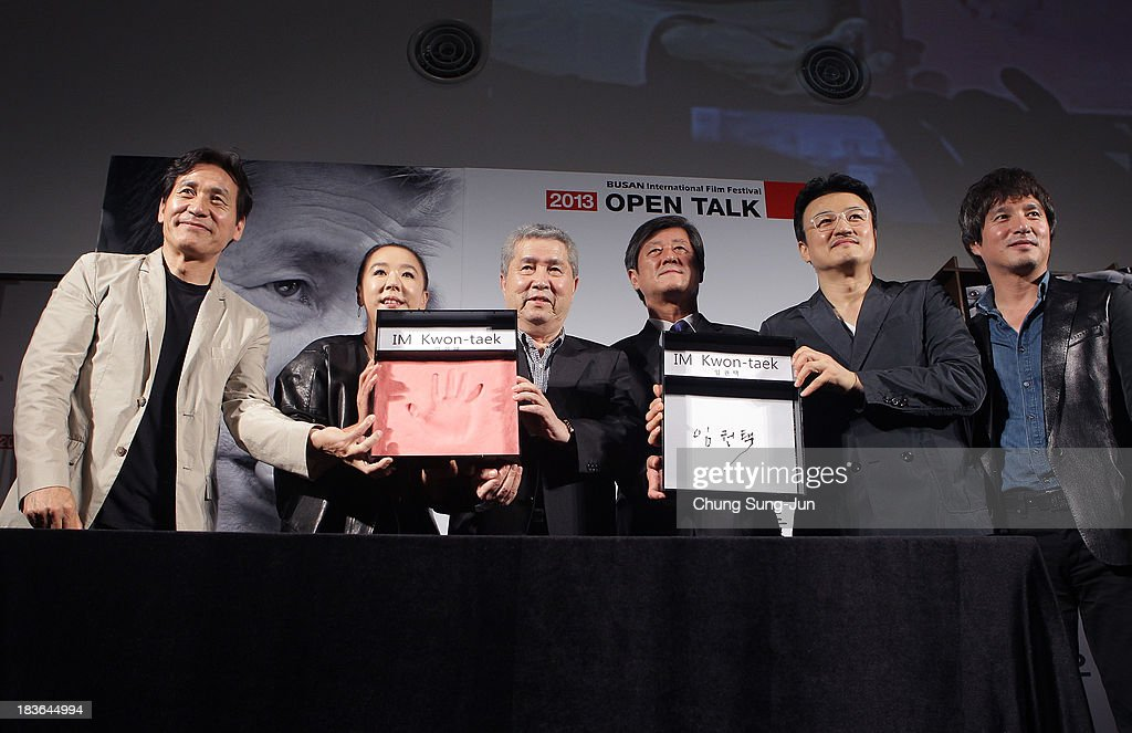 Actor Ahn Sung-Ki, Kang Soo-Hyun director Im Kwon-Taek, festival director Lee Yong-Kwan, actor Park Joong-Hoon and Cho Jae-Hyun attend the 'Open Talk -Im Kwon-Taek and His Actors-' at the BIFF Hill during 18th Busan International Film Festival (BIFF) on October 8, 2013 in Busan, South Korea. The biggest film festival in Asia showcases 299 films from 70 countries and runs from October 3-12.