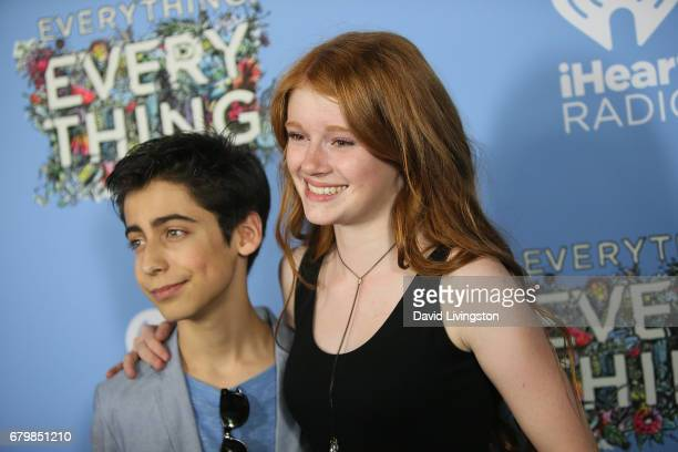 Actor Aidan Gallagher and Hannah McCloud attend the screening of Warner Bros Pictures' 'Everything Everything' at the TCL Chinese Theatre on May 6...