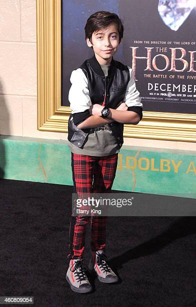 Actor Aidan Gallagher arrives at the Los Angeles Premiere 'The Hobbit The Battle of the Five Armies' at Dolby Theatre on December 9 2014 in Hollywood...