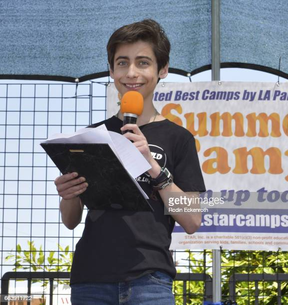 Actor Aidan Gallagher receives award onstage at 17th Annual Children's Earth Day Extravaganza at Star Eco Station on April 2 2017 in Culver City...