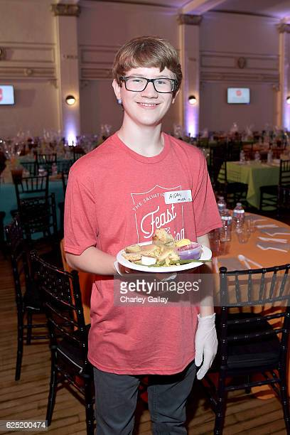 Actor Aidan Miner from School of Rock attends the 'Salvation Army's Feast of Sharing Holiday Dinner' presented by Nickelodeon at Casa Vertigo on...
