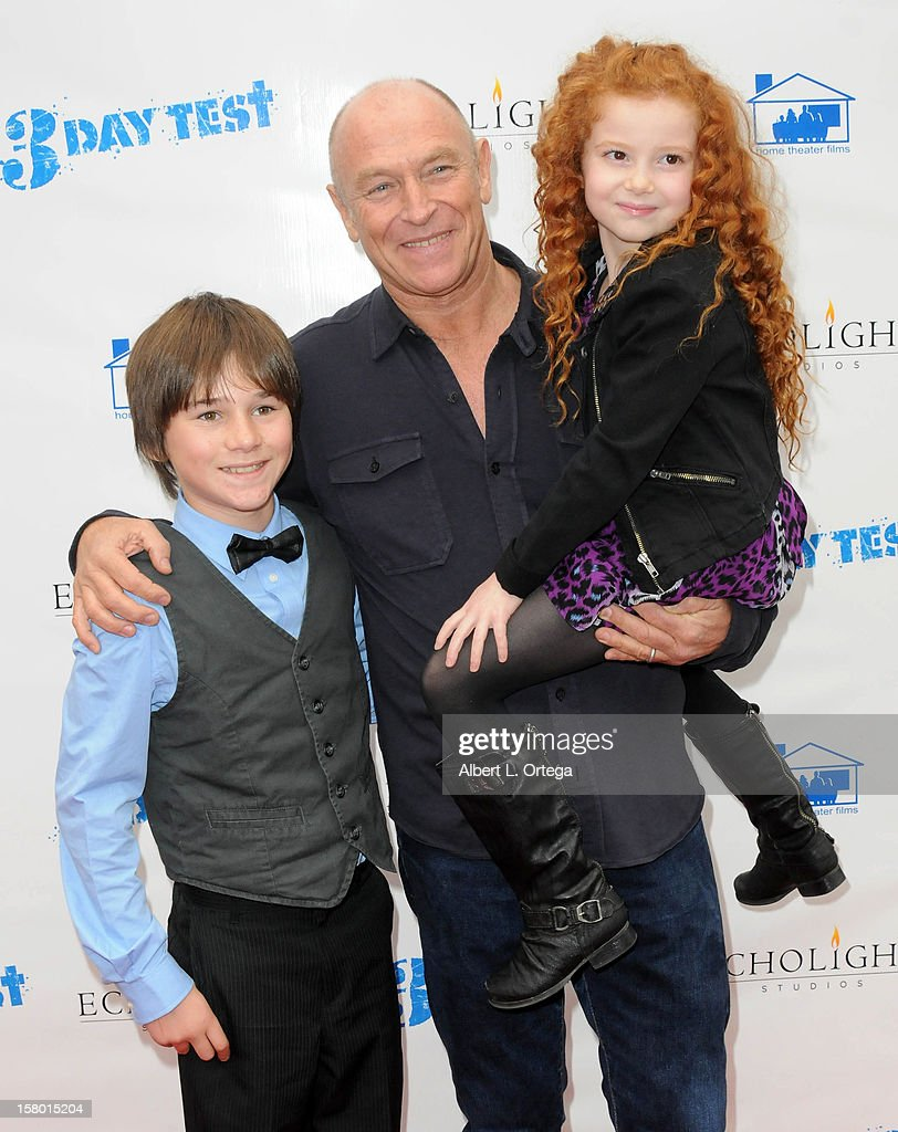 Actor Aidan Porter, actor/director Corbin Bernsen and actress Francesca Capaldi arrive for the Screening Of '3 Day Test' - Arrivals held at Downtown Independent Theater on December 8, 2012 in Los Angeles, California.