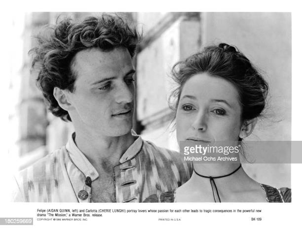 Actor Aidan Quinn and actress Cherie Lunghi on the set of Warner Bros movie ' The Mission' in 1986