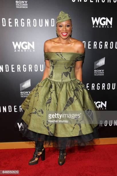 Actor Aisha Hinds attends WGN America's 'Underground' Season Two Premiere Screening at Regency Village Theatre on March 1 2017 in Westwood California