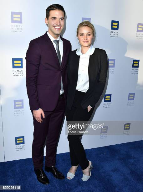 Actor AJ Michalka and Raymond Braun arrives at the Human Rights Campaign's 2017 Los Angeles Gala Dinner at JW Marriott Los Angeles at LA LIVE on...