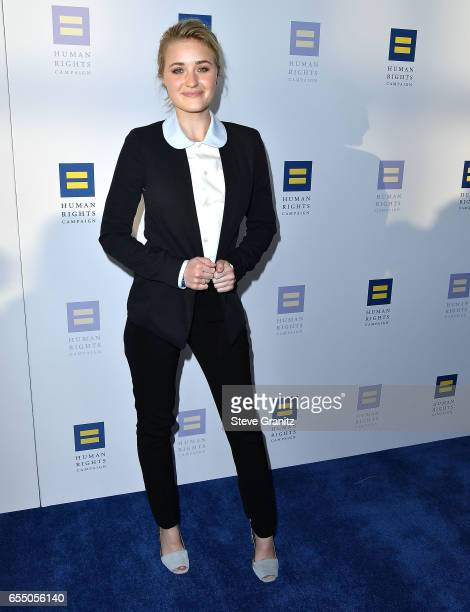 Actor AJ Michalka arrives at the Human Rights Campaign's 2017 Los Angeles Gala Dinner at JW Marriott Los Angeles at LA LIVE on March 18 2017 in Los...