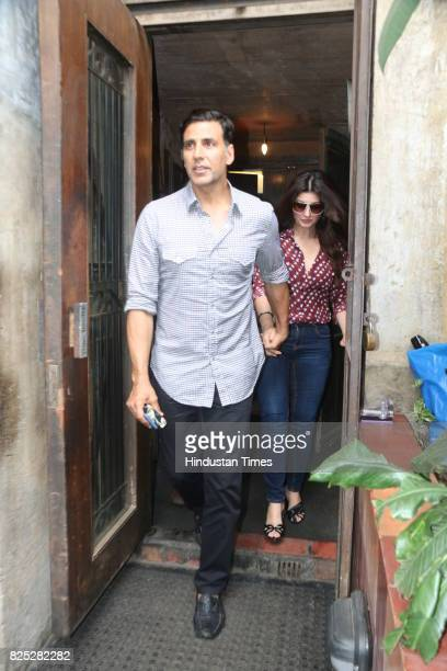 Actor Akshay Kumar with his wife Twinkle Khanna spotted at an eatery in Bandra on July 30 2017 in Mumbai India