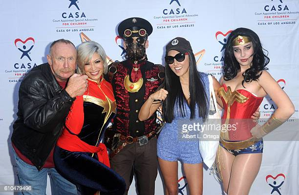 Actor Al Burke cosplayers Melina Perez Nathan Seekermanactress Candace Kita and Eiraina Schmolesky participate in the 2016 Justice Jog 5K to benefit...