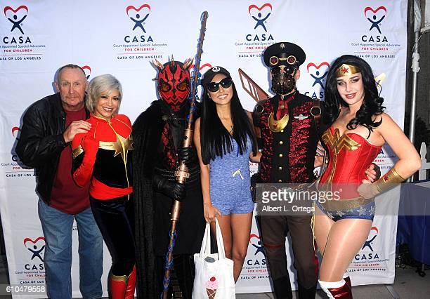Actor Al Burke cosplayers Melina Perez Shaylor Duranleau actress Candace Kita Nathan Seekerman and Eiraina Schmolesky participate in the 2016 Justice...