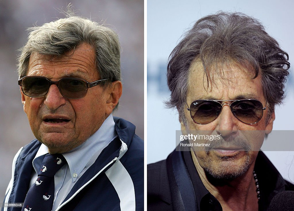 In this composite image a comparison has been made between <a gi-track='captionPersonalityLinkClicked' href=/galleries/search?phrase=Joe+Paterno&family=editorial&specificpeople=623059 ng-click='$event.stopPropagation()'>Joe Paterno</a> (L) and <a gi-track='captionPersonalityLinkClicked' href=/galleries/search?phrase=Al+Pacino&family=editorial&specificpeople=202658 ng-click='$event.stopPropagation()'>Al Pacino</a>. Actor <a gi-track='captionPersonalityLinkClicked' href=/galleries/search?phrase=Al+Pacino&family=editorial&specificpeople=202658 ng-click='$event.stopPropagation()'>Al Pacino</a> will reportedly play football couch <a gi-track='captionPersonalityLinkClicked' href=/galleries/search?phrase=Joe+Paterno&family=editorial&specificpeople=623059 ng-click='$event.stopPropagation()'>Joe Paterno</a> in a film biopic produced by Rick Nicita. NEW YORK - APRIL 14: Actor <a gi-track='captionPersonalityLinkClicked' href=/galleries/search?phrase=Al+Pacino&family=editorial&specificpeople=202658 ng-click='$event.stopPropagation()'>Al Pacino</a> attends the HBO Film's 'You Don't Know Jack' premiere at Ziegfeld Theatre on April 14, 2010 in New York City.
