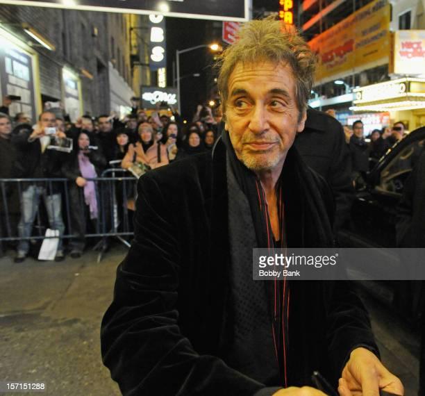 Actor Al Pacino exiting the stage door for 'Glengarry Glen Ross' at the Gerald Schoenfeld Theatre on November 28 2012 in New York City