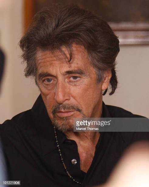 Actor Al Pacino is seen on the set of a 'Vittoria Caffe' commercial in SOHO on May 27 2010 in New York New York