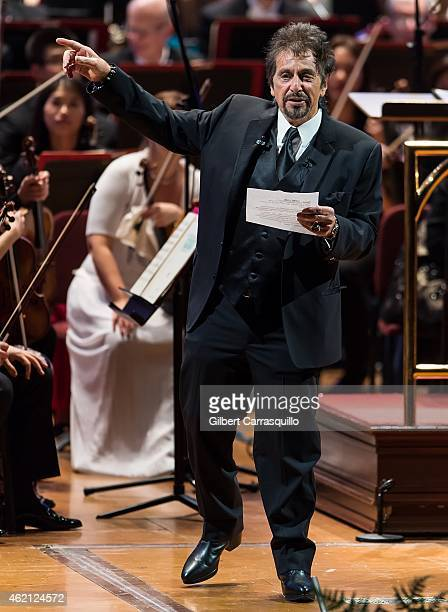 Actor Al Pacino performs with Music Director Yannick NezetSeguin and The Philadelphia Orchestra during the Academy of Music 158th Anniversary Concert...