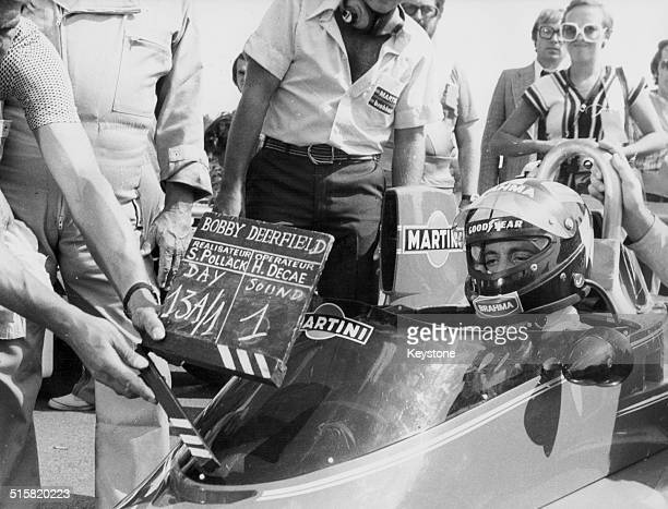 Actor Al Pacino sitting in a motor racing car filming scenes for the movie 'Bobby Deerfield' Le Mans France circa 1977
